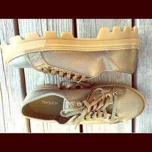 Topshop olive satin platform sneakers women 9.5
